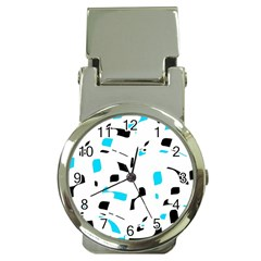 Blue, black and white pattern Money Clip Watches