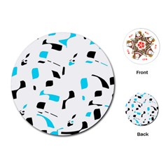 Blue, black and white pattern Playing Cards (Round)