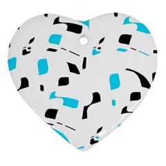 Blue, black and white pattern Heart Ornament (2 Sides)