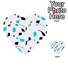 Blue, black and white pattern Multi-purpose Cards (Heart)