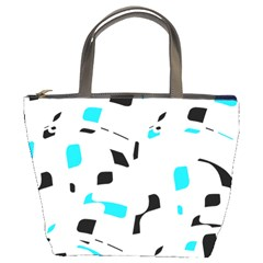 Blue, black and white pattern Bucket Bags