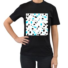Blue, black and white pattern Women s T-Shirt (Black)