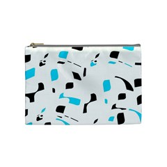 Blue, black and white pattern Cosmetic Bag (Medium)