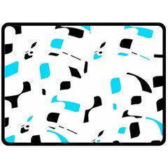 Blue, black and white pattern Fleece Blanket (Large)