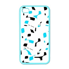 Blue, black and white pattern Apple iPhone 4 Case (Color)