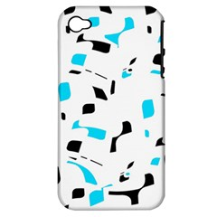 Blue, black and white pattern Apple iPhone 4/4S Hardshell Case (PC+Silicone)