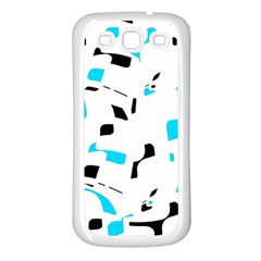 Blue, black and white pattern Samsung Galaxy S3 Back Case (White)