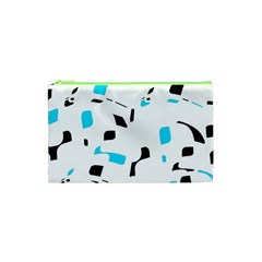 Blue, black and white pattern Cosmetic Bag (XS)
