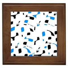 Blue, black and white pattern Framed Tiles