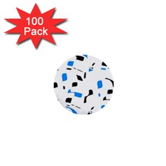 Blue, black and white pattern 1  Mini Buttons (100 pack)