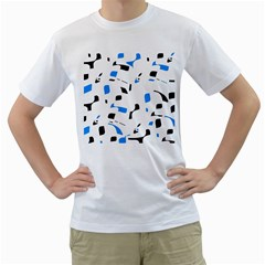 Blue, black and white pattern Men s T-Shirt (White) (Two Sided)
