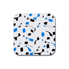 Blue, Black And White Pattern Rubber Coaster (square)
