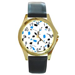 Blue, black and white pattern Round Gold Metal Watch