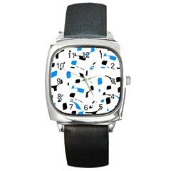 Blue, black and white pattern Square Metal Watch