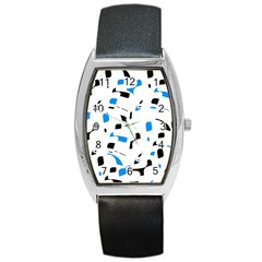 Blue, black and white pattern Barrel Style Metal Watch