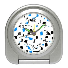 Blue, black and white pattern Travel Alarm Clocks