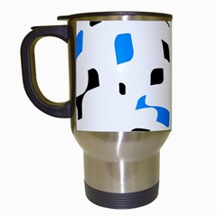 Blue, black and white pattern Travel Mugs (White)