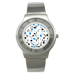 Blue, black and white pattern Stainless Steel Watch