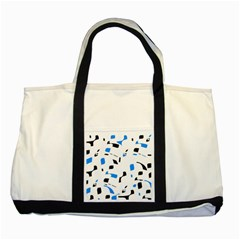 Blue, black and white pattern Two Tone Tote Bag