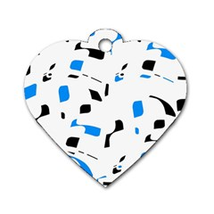 Blue, black and white pattern Dog Tag Heart (One Side)