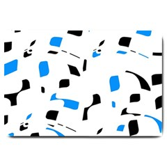 Blue, black and white pattern Large Doormat