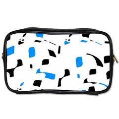 Blue, black and white pattern Toiletries Bags 2-Side