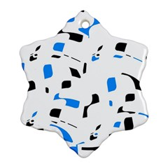 Blue, black and white pattern Snowflake Ornament (2-Side)