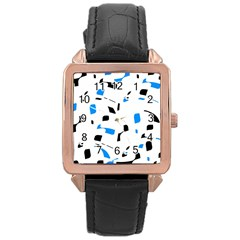 Blue, black and white pattern Rose Gold Leather Watch
