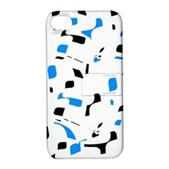 Blue, black and white pattern Apple iPhone 4/4S Hardshell Case with Stand