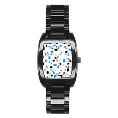 Blue, black and white pattern Stainless Steel Barrel Watch