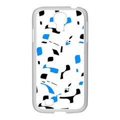 Blue, black and white pattern Samsung GALAXY S4 I9500/ I9505 Case (White)