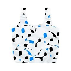 Blue, black and white pattern Full Print Recycle Bags (M)