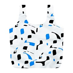 Blue, black and white pattern Full Print Recycle Bags (L)