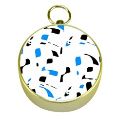 Blue, black and white pattern Gold Compasses