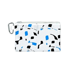 Blue, black and white pattern Canvas Cosmetic Bag (S)