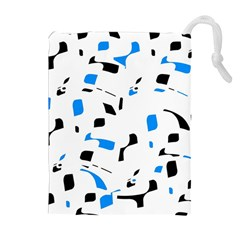 Blue, black and white pattern Drawstring Pouches (Extra Large)