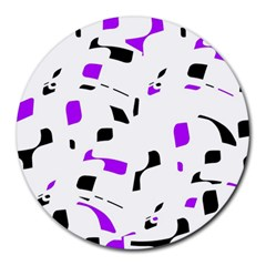 Purple, black and white pattern Round Mousepads