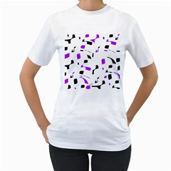 Purple, black and white pattern Women s T-Shirt (White) (Two Sided)