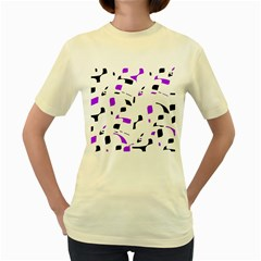 Purple, black and white pattern Women s Yellow T-Shirt