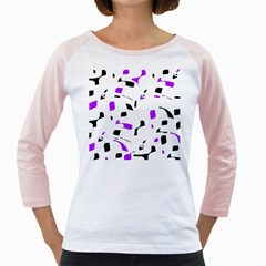 Purple, black and white pattern Girly Raglans