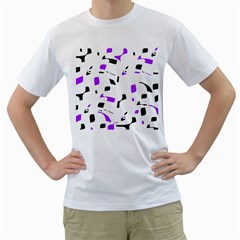 Purple, black and white pattern Men s T-Shirt (White) (Two Sided)