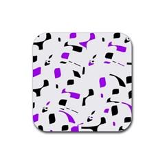 Purple, black and white pattern Rubber Coaster (Square)