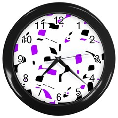 Purple, black and white pattern Wall Clocks (Black)