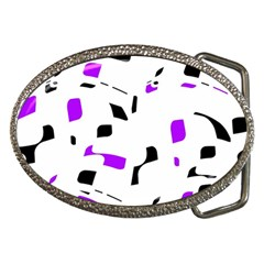 Purple, black and white pattern Belt Buckles