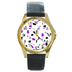 Purple, black and white pattern Round Gold Metal Watch