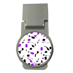 Purple, black and white pattern Money Clips (Round)