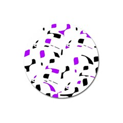 Purple, black and white pattern Magnet 3  (Round)