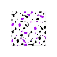 Purple, black and white pattern Square Magnet