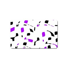 Purple, black and white pattern Magnet (Name Card)