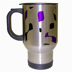 Purple, black and white pattern Travel Mug (Silver Gray)